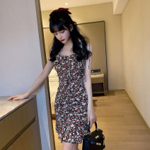 Dress Summer 2021 Pink, black S,M,L Short skirt singleton  Sleeveless commute One word collar middle-waisted Decor Socket Pencil skirt other Others 18-24 years old Type H Korean version bow 31% (inclusive) - 50% (inclusive) Chiffon polyester fiber