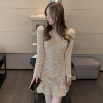 Dress Spring 2021 Picture color S,M,L Short skirt singleton  Long sleeves commute V-neck High waist Solid color Socket One pace skirt routine 25-29 years old Type A Korean version zipper polyester fiber
