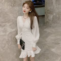 Dress Autumn 2020 white S,M,L Short skirt singleton  Long sleeves commute V-neck High waist Solid color zipper Ruffle Skirt bishop sleeve Others Type A Korean version Lotus leaf edge . 31% (inclusive) - 50% (inclusive) other polyester fiber
