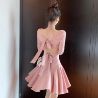 Dress Autumn of 2019 Black, lotus pink Average size Short skirt singleton  Long sleeves Sweet Crew neck middle-waisted Solid color Socket Big swing routine Others 18-24 years old Type X Other / other Bows, bandages, backless . Ruili