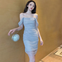 Dress Summer 2020 Fog blue, fairy powder S,M,L Short skirt singleton  Sleeveless Sweet One word collar High waist Solid color zipper Pencil skirt other camisole 18-24 years old Type H Other / other Gauze . 51% (inclusive) - 70% (inclusive) other princess