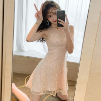 Dress Autumn of 2019 Pink S,M,L Short skirt singleton  Sleeveless commute V-neck High waist other zipper A-line skirt camisole 18-24 years old Type A Other / other Korean version Gauze .
