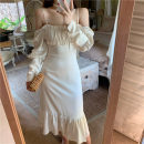 Dress Spring 2021 Apricot long sleeve S,M,L longuette singleton  Sleeveless commute One word collar High waist Solid color Socket Ruffle Skirt bishop sleeve camisole Type H Lotus leaf edge . 31% (inclusive) - 50% (inclusive) polyester fiber