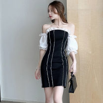 Dress Summer 2021 Black and white S,M,L Short skirt singleton  Short sleeve commute One word collar High waist puff sleeve Type H Korean version . polyester fiber