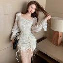 Dress Spring 2021 Apricot, black S, M Short skirt singleton  Long sleeves commute square neck High waist zipper Type A Korean version Lace . 51% (inclusive) - 70% (inclusive) Lace