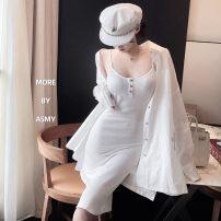 Fashion suit Spring 2021 Average size Suspender skirt, cardigan 71% (inclusive) - 80% (inclusive) polyester fiber