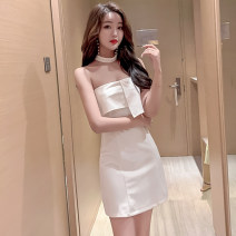 Dress Summer of 2019 White, black S,M,L Short skirt singleton  Sleeveless commute One word collar High waist Solid color zipper Pencil skirt Hanging neck style 18-24 years old Type H Other / other Korean version backless . 30% and below brocade cotton