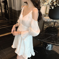 Dress Autumn of 2019 White, black S,M,L Short skirt singleton  Long sleeves commute V-neck High waist Solid color zipper Big swing Sleeve camisole 18-24 years old Type X Other / other Korean version 31% (inclusive) - 50% (inclusive) other