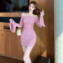 Dress Spring 2021 Pink, black S,M,L,XL Short skirt singleton  Long sleeves commute One word collar High waist Solid color Socket Pencil skirt pagoda sleeve Type H Korean version . 31% (inclusive) - 50% (inclusive) brocade polyester fiber