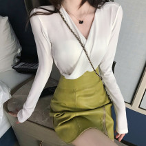 T-shirt White, green, black Average size Autumn of 2019 Long sleeves V-neck Self cultivation Regular routine commute cotton 71% (inclusive) - 85% (inclusive) 18-24 years old Korean version youth Solid color Other / other .
