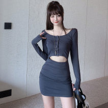 Dress Spring 2021 Gray, blue, black, pink Average size Short skirt singleton  Long sleeves commute Crew neck High waist Solid color Socket Pencil skirt routine Type H Hollowing out .