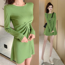 Dress Autumn of 2019 S,M,L Short skirt singleton  Long sleeves commute Crew neck High waist Solid color Socket A-line skirt routine Others 18-24 years old Type X Other / other Korean version fold 31% (inclusive) - 50% (inclusive) brocade cotton