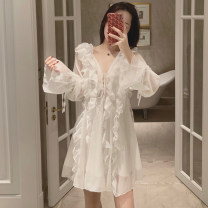 Dress Summer of 2019 Black, picture white Average size Short skirt singleton  Long sleeves Sweet V-neck middle-waisted Solid color Socket other other Others 18-24 years old Type A Other / other Lotus leaf edge . solar system