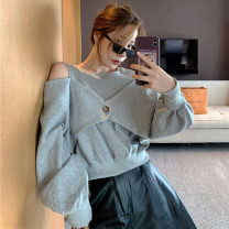 Sweater / sweater Autumn 2020 Grey, white Average size Long sleeves Socket Fake two pieces Crew neck easy commute Solid color Korean version . Hollowing out