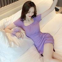 Dress Summer 2020 violet S,M,L Short skirt singleton  Short sleeve commute square neck High waist Solid color Socket Pencil skirt routine Others Type H Korean version .