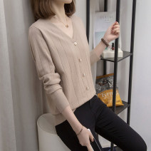Women's large Spring 2021 Khaki, black XL [100 ~ 130 Jin], 2XL [130 ~ 150 Jin], 3XL [150 ~ 170 Jin], 4XL [170 ~ 200 Jin] Knitwear / cardigan singleton  commute Straight cylinder moderate Socket Long sleeves Solid color V-neck routine nylon Three dimensional cutting routine Z751 Other / other Button