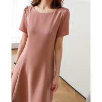 Dress Spring 2021 Black, pink 36,38,40,42 Mid length dress singleton  Short sleeve commute Crew neck Solid color zipper routine Type X Magpie past Simplicity LYQ3820-0410-HH-XF 91% (inclusive) - 95% (inclusive) other polyester fiber