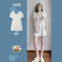 Dress Summer 2021 Picture color S,M,L,XL Short skirt singleton  Short sleeve Sweet square neck High waist Solid color zipper Princess Dress puff sleeve 18-24 years old Type A 81% (inclusive) - 90% (inclusive) princess