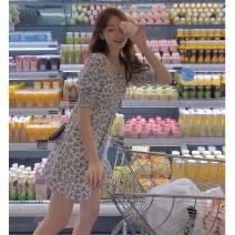 Dress Summer 2021 Floral Dress S,M,L,XL Short skirt singleton  Short sleeve Sweet square neck High waist Broken flowers Socket A-line skirt puff sleeve 18-24 years old Type A printing 71% (inclusive) - 80% (inclusive) Mori