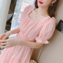 Dress Summer 2021 White, pink S,M,L,XL Mid length dress singleton  Short sleeve commute square neck High waist Solid color Socket A-line skirt puff sleeve Others 25-29 years old Type A Korean version Ruffle, pleat, fold, Auricularia auricula, stitching 91% (inclusive) - 95% (inclusive) other other