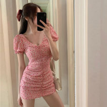 Dress Summer 2020 Pink S, M Short skirt singleton  Short sleeve commute V-neck High waist Broken flowers Socket One pace skirt puff sleeve Others Type H Other / other Korean version Drape, open back, fold 71% (inclusive) - 80% (inclusive) other other