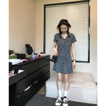 Dress Spring 2021 Black, pink XS,S,M,L,XL Short skirt singleton  Short sleeve commute V-neck Single breasted other routine Others 18-24 years old Type A Korean version fungus L2532S11 More than 95% polyester fiber