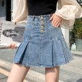 skirt Summer 2021 S,M,L,XL,2XL blue Short skirt commute High waist A-line skirt Solid color Type A 18-24 years old Ch More than 95% Denim cotton Button Retro