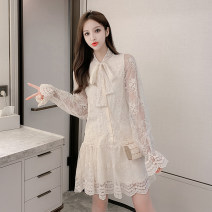 Dress Spring 2021 Apricot, white S,M,L,XL Short skirt singleton  Long sleeves commute V-neck Single breasted A-line skirt routine Others 18-24 years old Type A Korean version ET 81% (inclusive) - 90% (inclusive)