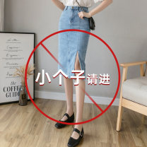skirt Spring 2021 XS,S,M,L,XL Picture color Mid length dress High waist Solid color Type H 18-24 years old Ch More than 95% Splicing