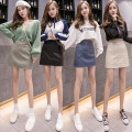 skirt Spring 2021 S,M,L,XL Black, blue, green, apricot Short skirt commute High waist A-line skirt Solid color Type A 18-24 years old ---8870 More than 95% Korean version
