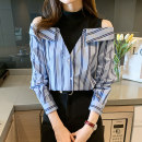 Lace / Chiffon Spring 2021 stripe S,M,L,XL,2XL Long sleeves commute Socket singleton  easy Regular other stripe routine 18-24 years old Et Korean version 81% (inclusive) - 90% (inclusive)