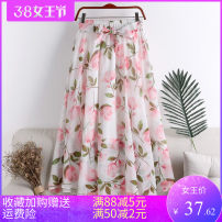 skirt Summer 2020 Average size Mid length dress Versatile High waist A-line skirt Abstract pattern Type A 18-24 years old 71% (inclusive) - 80% (inclusive) other polyester fiber printing 201g / m ^ 2 (including) - 250G / m ^ 2 (including)
