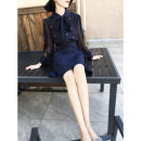 Dress Spring 2021 Apricot, navy blue S,M,L,XL Short skirt Fake two pieces Long sleeves commute Doll Collar middle-waisted Solid color zipper One pace skirt bishop sleeve Others 25-29 years old Type X MEXCOCO lady Bowknot, embroidery, stitching M9XL1034