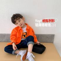 shirt Orange expected to arrive on April 16 Komori male 90, 100, 110 (model), 120, 130, 140, 150, 160 spring and autumn Long sleeves leisure time Solid color cotton Lapel and pointed collar