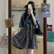 Fashion suit Summer 2021 Average size Black floral skirt, white floral skirt, blue denim shirt
