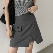 skirt Summer 2021 S,M,L Gray, black Short skirt commute Solid color 18-24 years old 91% (inclusive) - 95% (inclusive) polyester fiber