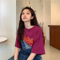 T-shirt White, purplish red Average size Summer 2021 Short sleeve Crew neck easy Regular routine commute cotton 96% and above 18-24 years old Korean version letter printing