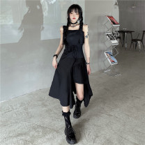 Dress Spring 2021 black Average size Short sleeve commute Crew neck letter other 18-24 years old 31% (inclusive) - 50% (inclusive) other