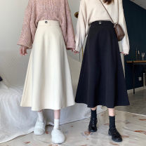 skirt Winter 2020 S,M,L Black, beige Middle-skirt Versatile High waist