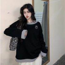 Sweater / sweater Winter 2020 Apricot, black Average size Long sleeves routine Socket singleton  Crew neck easy routine letter 30% and below cotton Splicing