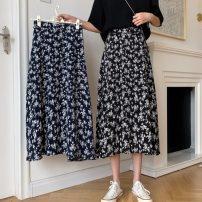 skirt Summer 2021 S,M,L,175/76A Navy blue, black Mid length dress Versatile High waist A-line skirt Broken flowers