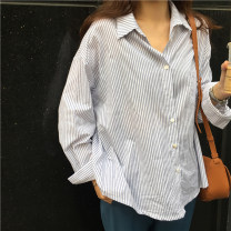 shirt Blue stripe Average size Spring 2021 other 96% and above Long sleeves commute Regular Single row multi button routine stripe Straight cylinder Korean version