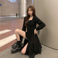 Dress Spring 2021 black S, M Mid length dress singleton  Long sleeves commute square neck Solid color routine 18-24 years old Type A Korean version Asymmetry 71% (inclusive) - 80% (inclusive) other