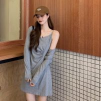Dress Spring 2021 Black two-piece set, gray two-piece set Average size Short skirt Two piece set commute V-neck High waist Socket A-line skirt Others Type A 31% (inclusive) - 50% (inclusive) other