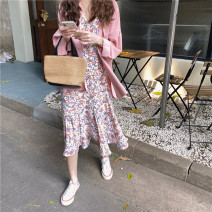 Dress Spring 2021 Pink shirt, floral sling Average size Short skirt Short sleeve Crew neck High waist Decor Socket Others 18-24 years old Type H 31% (inclusive) - 50% (inclusive) other polyester fiber