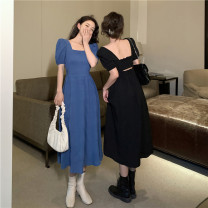 Dress Spring 2021 Blue, black Average size Mid length dress singleton  Short sleeve commute square neck High waist Solid color Socket A-line skirt puff sleeve Others 18-24 years old Type A Korean version 91% (inclusive) - 95% (inclusive) other polyester fiber