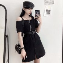 Dress Summer 2021 black M, L singleton  Short sleeve commute 18-24 years old Retro