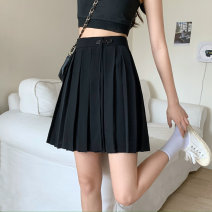 skirt Spring 2021 S, M Black, brown Short skirt commute High waist Pleated skirt Solid color Type A 18-24 years old 30% and below other polyester fiber Button Korean version