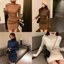 Dress Autumn 2020 Apricot, blue, black, caramel, dark coffee Average size Miniskirt singleton  Long sleeves commute High collar High waist 18-24 years old Korean version 99497#