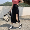skirt Spring 2021 S,M,L Yellow, black street High waist Solid color 18-24 years old 30% and below cotton Button